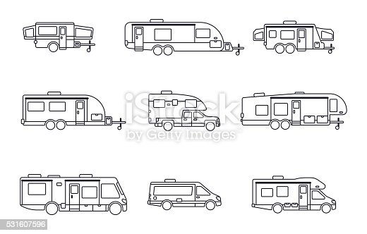 Recreational vehicles, motor homes and camping trailer house symbol collection. EPS 10 file. Transparency effects used on highlight elements.