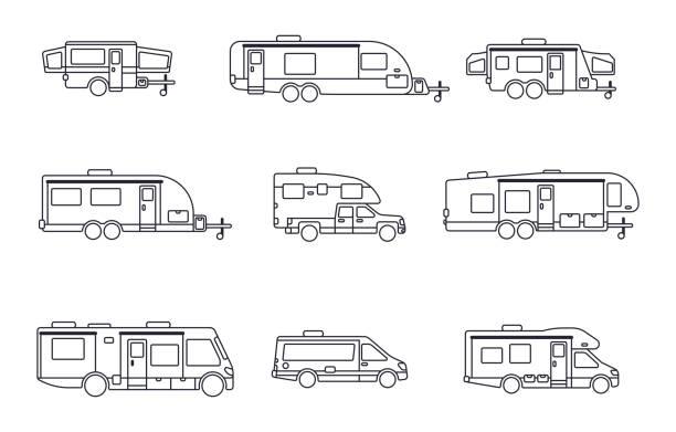recreational vehicles, motor homes and camping trailers - caravan stock illustrations