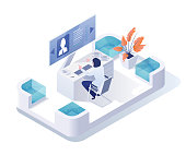 Recruiting agency isometric vector illustration. Manager, recruiter working with computer 3D cartoon character. Head hunting, human resources department. Woman studying candidate CV, recruits search