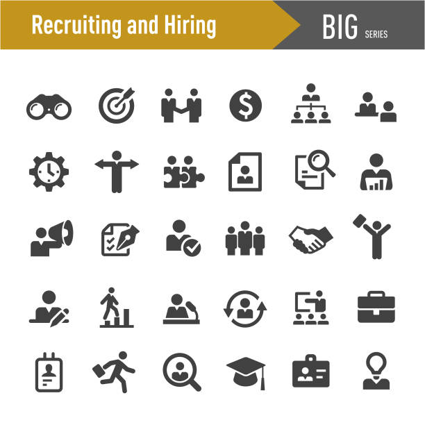 illustrazioni stock, clip art, cartoni animati e icone di tendenza di recruiting and hiring icons - big series - reparto assunzioni