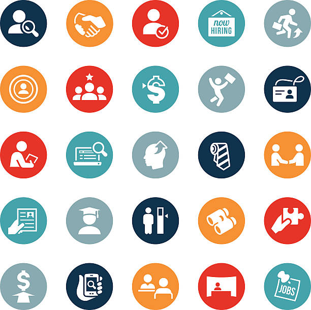 Recruiting and Hiring Icons Icons depicting various concepts related to the recruiting and hiring industry. The icons symbolize various human resource themes including hiring, recruiting, applying, job search, business people, assessment, testing and more. recruiter stock illustrations