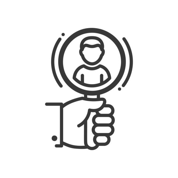 Recruiting - line design single isolated icon Recruiting - vector line design single isolated icon, pictogram. Hand holding magnifying glass and person in it candidate stock illustrations
