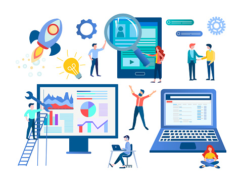 Recruiting, SEO optimization, characters work in a team, setting up and developing computer technology.