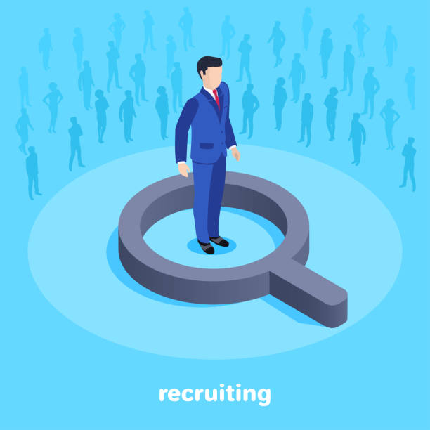 recruiting Isometric vector image on a blue background, a man in a business suit stands in the center of a magnifying glass and silhouettes of people searching and hiring a professional recruiter stock illustrations