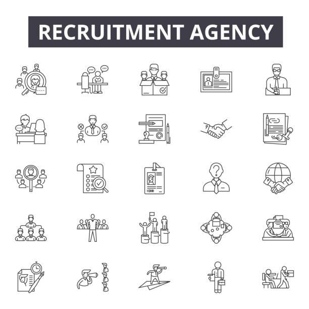 rekrutierungsagentur line-icons, zeichen, vektor-set, lineares konzept, umrissillustration - arbeitsvermittlung stock-grafiken, -clipart, -cartoons und -symbole