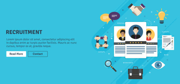 Recruitment and selection of people qualified for employment. Recruitment and selection of people qualified for employment. Hiring and recruitment concept, job interview, qualified professionals. Icon set business. Flat design web banners in vector illustration. job interview stock illustrations