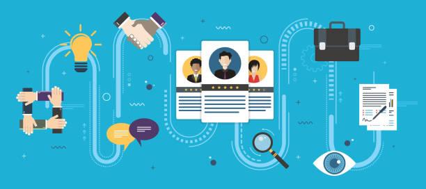 rekrutacja i selekcja osób zakwalifikowanych do zatrudnienia. - umiejętność stock illustrations