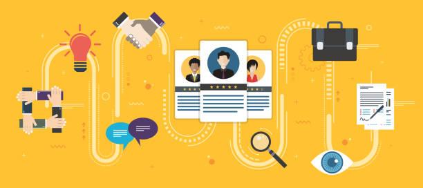 ilustrações de stock, clip art, desenhos animados e ícones de recruitment and selection of people qualified for employment. - job interview