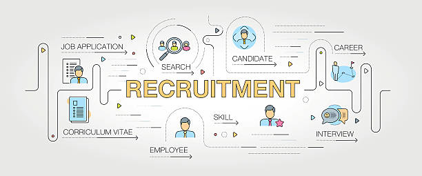 recruitment banner and icons - business cv templates stock illustrations