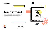 Recruitment Concept. Geometric Retro Style Banner and Poster Concept with Recruitment icon