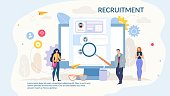 Recruitment Selection Cartoon Design Webpage. Hiring Service Online. Recruiting Team Studying Candidate Profiles on Huge Monitor Screen. Human Resource Presentations Slide. Vector Flat Illustration
