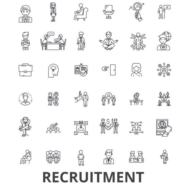 Anwerbung, Einstellung, Personalwesen, Karriere, Interview, Beschäftigung, Besetzung Linie Symbole. Editierbare Striche. Flaches Design Vektor Illustration Symbol Konzept. Lineare Zeichen isoliert – Vektorgrafik