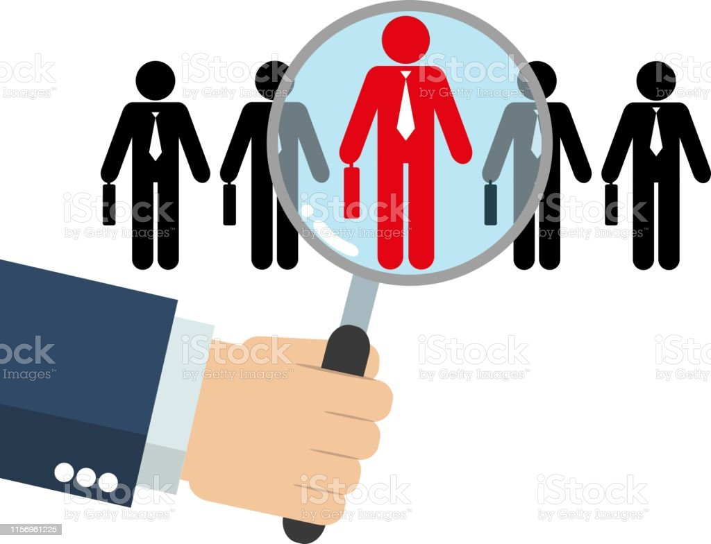 hand hold magnify to search on human candidate icon, Human resource...