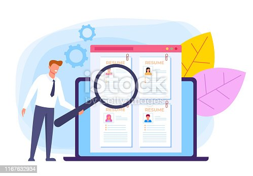Recruitment human resources banner poster concept. Vector flat cartoon graphic design
