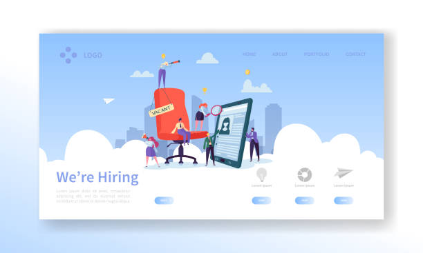 Recruitment, Job Interview Concept Landing Page. Vacancy Flat People Characters HR Managers Website Template. Easy Edit and Customize. Vector illustration Recruitment, Job Interview Concept Landing Page. Vacancy Flat People Characters HR Managers Website Template. Easy Edit and Customize. Vector illustration vacancy stock illustrations
