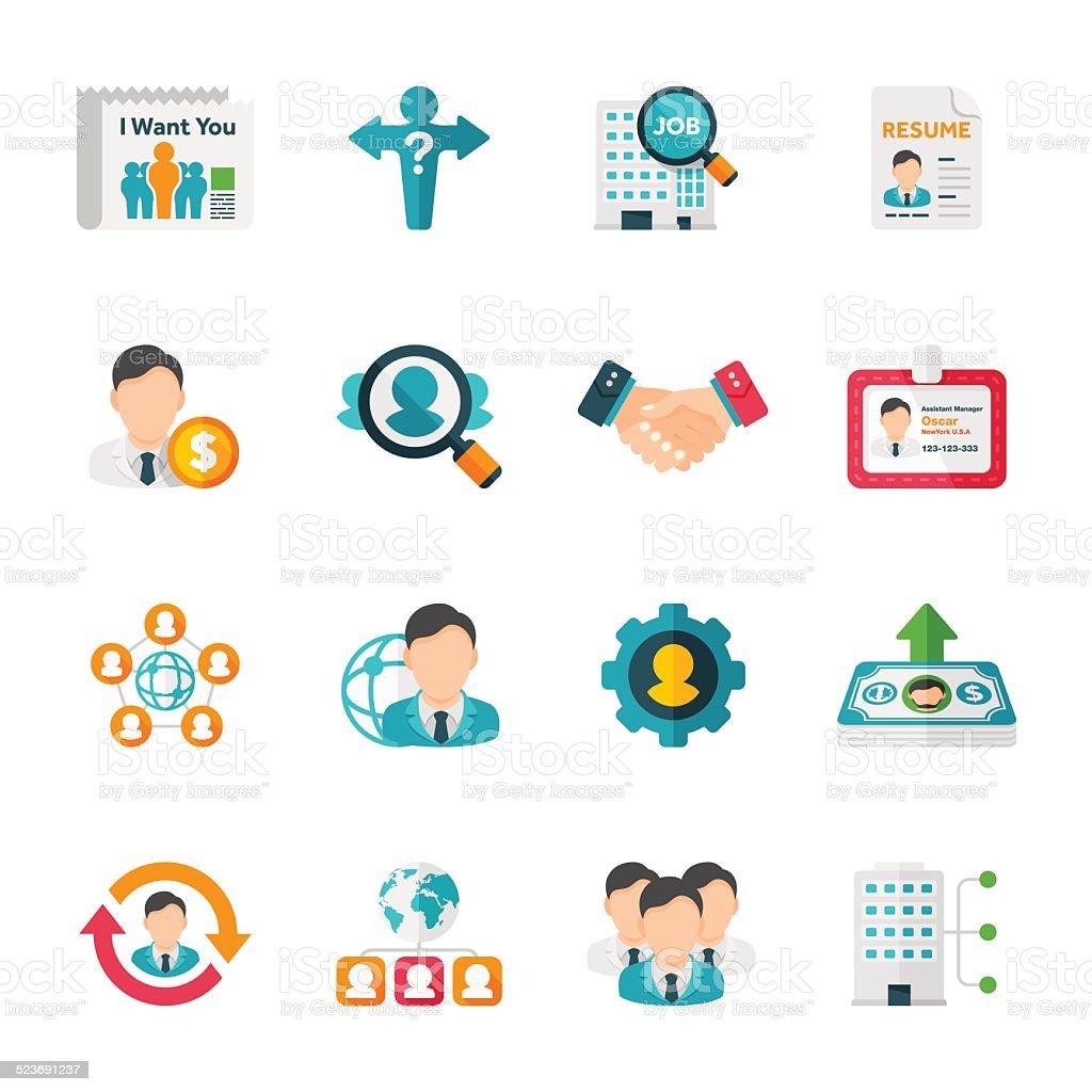 Recruitment & Job Set | Flat Design Icons vector art illustration