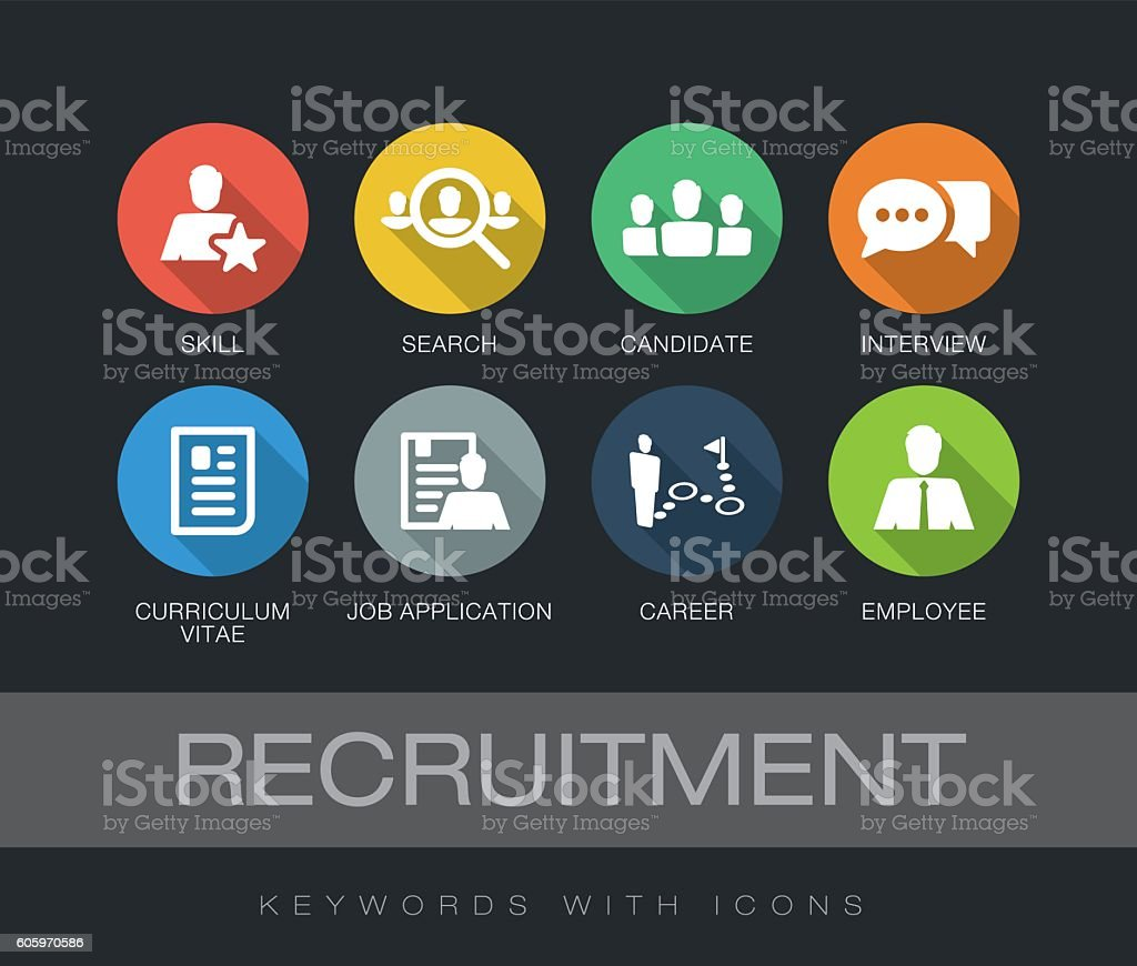 Recruitment keywords with icons vector art illustration