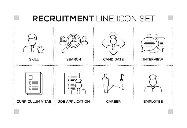 Recruitment keywords with monochrome line icons vector art illustration