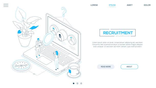 Rekrutierung-Line-Design Stil isometrisches Web-Banner – Vektorgrafik