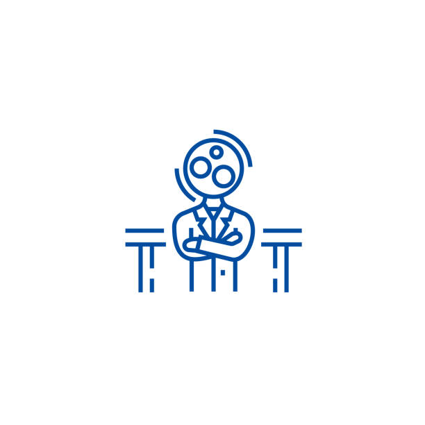 Recruitment officer,analytics manager line icon concept. Recruitment officer,analytics manager flat  vector symbol, sign, outline illustration. Recruitment officer,analytics manager line concept icon. Recruitment officer,analytics manager flat  vector website sign, outline symbol, illustration. police interview stock illustrations