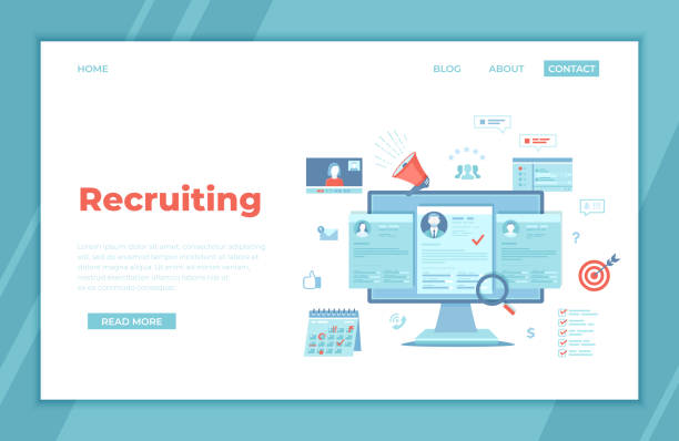 Recruitment platform, agency, hr. Human resources, Employment, Selection of the best candidate. Resume, megaphone, computer, calendar, video connection, interview. landing page template, banner Vector Recruitment platform, agency, hr. Human resources, Employment, Selection of the best candidate. Resume, megaphone, computer, calendar, video connection, interview. landing page template, banner Vector military recruit stock illustrations