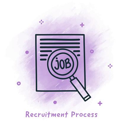 Recruitment Process Doodle Watercolor Background