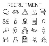 Recruitment related vector icon set.