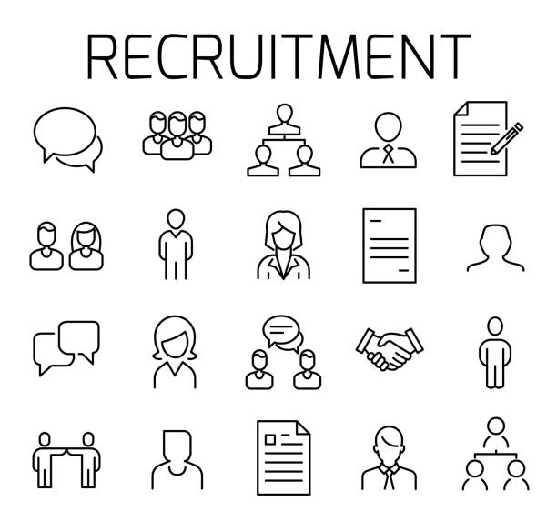 Recruitment related vector icon set. Recruitment related vector icon set. Well-crafted sign in thin line style with editable stroke. Vector symbols isolated on a white background. Simple pictograms. interview event stock illustrations