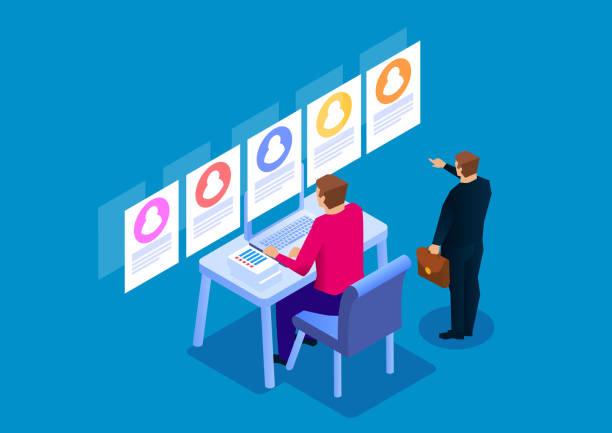 Recruitment, resume screening Recruitment, resume screening candidate stock illustrations