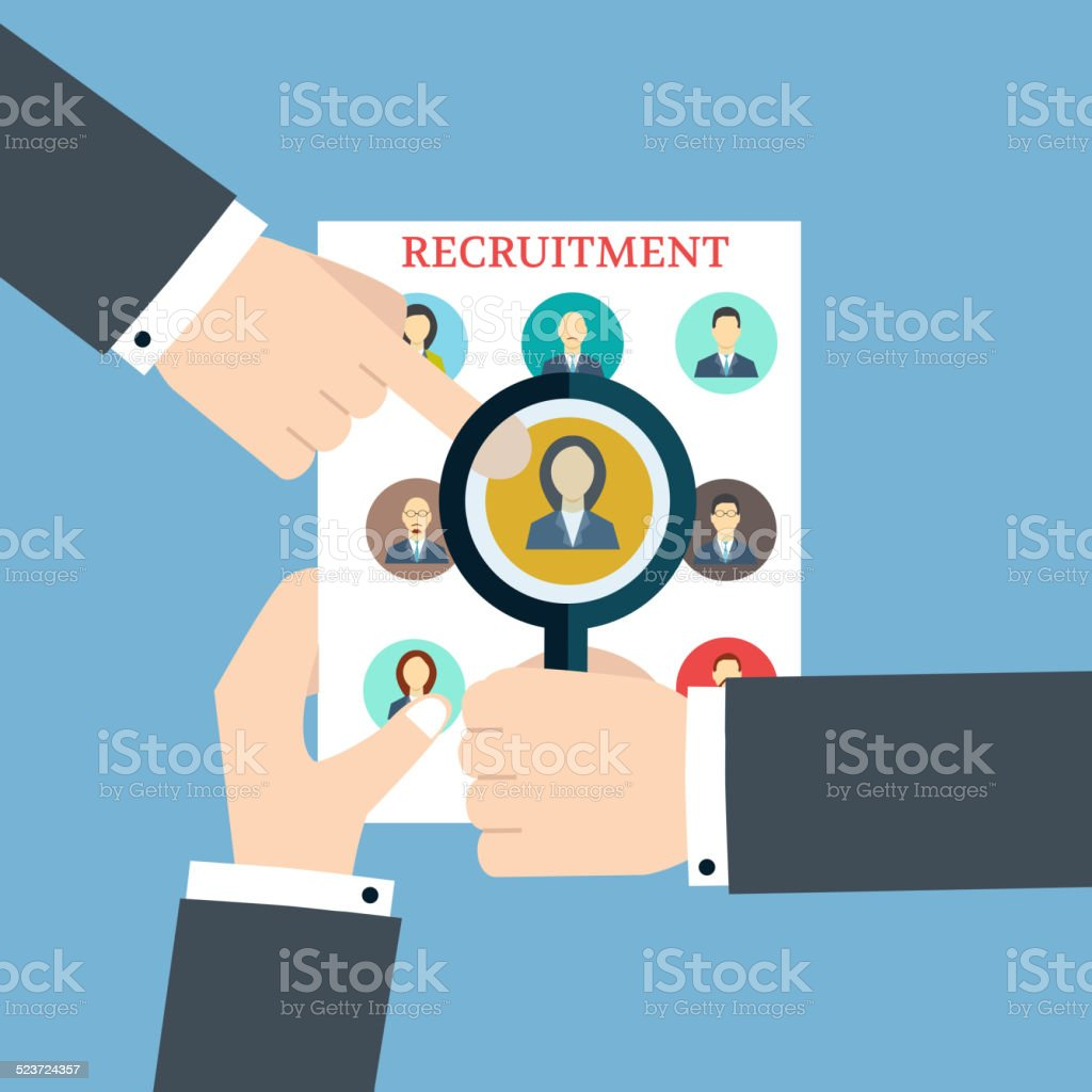 Recruitment. Searching The Profile. Human recruitment and  resource vector art illustration