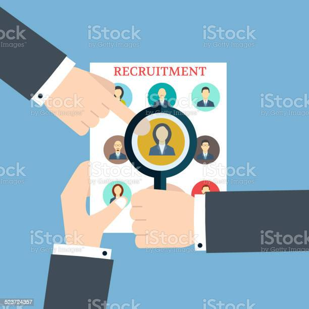 Recruitment Searching The Profile Human Recruitment And Resource Stock Illustration - Download Image Now