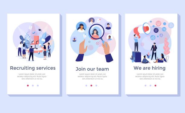 zestaw ilustracji koncepcji usługi rekrutacji. - umiejętność stock illustrations
