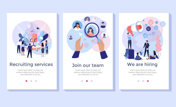 recruitment service concept illustration set. - zatrudnienie stock illustrations