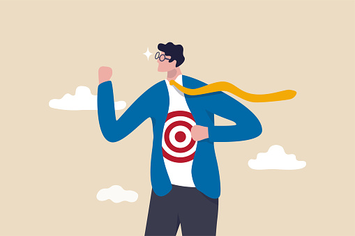 Recruitment target, head hunt, HR, human resources finding right candidate or target audience in marketing concept, businessman wearing eyeglasses tearing his suit reveal target symbol on his shirt.