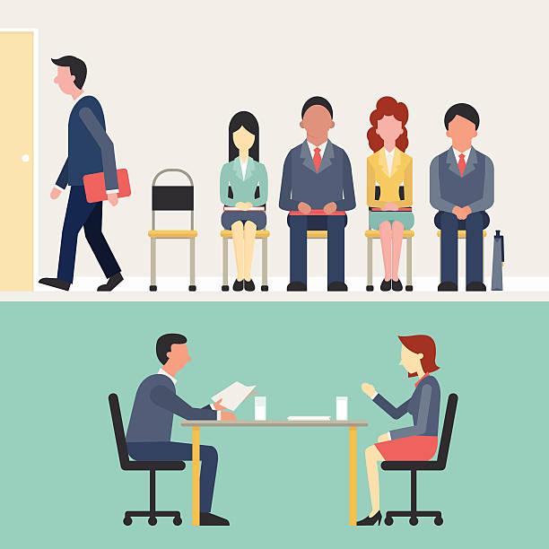 ilustrações de stock, clip art, desenhos animados e ícones de recrutamento - job interview