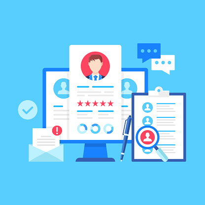 Recruitment Vector Illustration Human Resources Job Interview Hiring Recruiting Employment Concepts Flat Design Computer With Resume Cv On Screen Clipboard With Candidates List Pen Envelope Etc Stock Illustration - Download Image Now