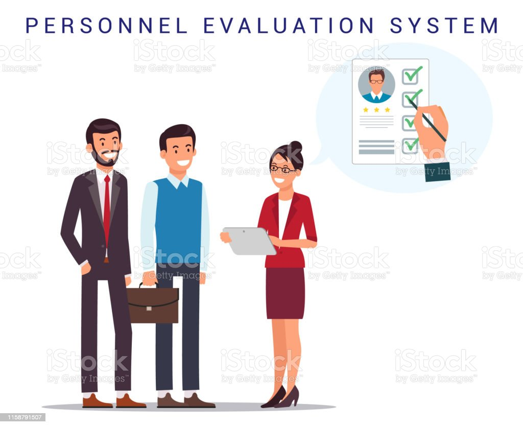Recruiting. Personnel Evaluation System. Open Vacancy. Woman with...