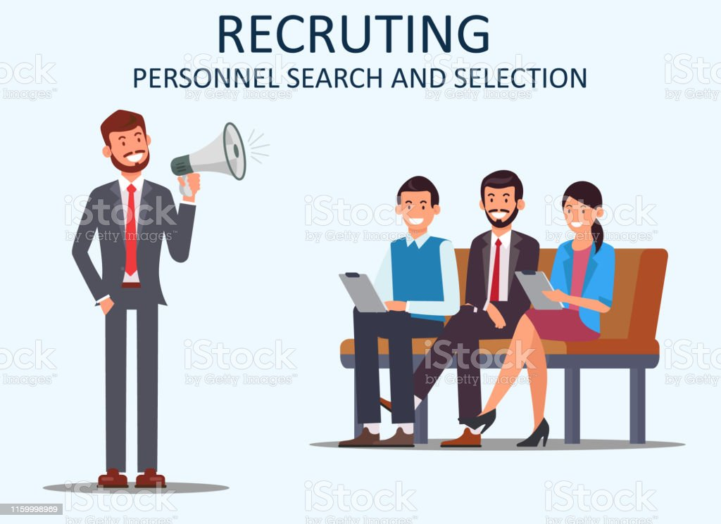Recruiting Personnel Search and Selection. Vector. People Sits on...