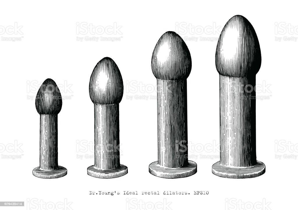 Rectal dilator equipment set four size hand drawing vintage illustration vector art illustration
