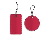 Rectangle and circle red leather tags on white background
