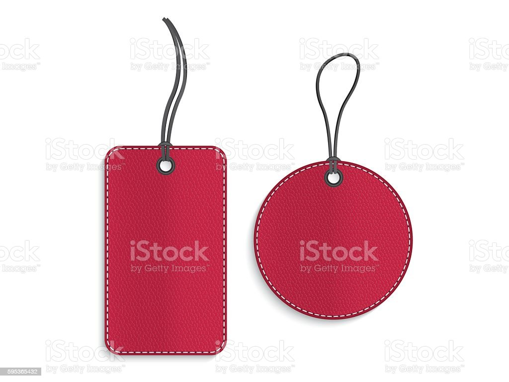Rectangle and circle red leather tags on white background vector art illustration