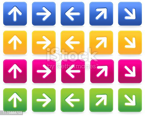 Rectangle arrow sign web button icon with shadow on white background.