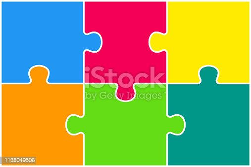 Puzzle background, banner, blank. Vector jigsaw section template. Background with puzzle 6 colored separate pieces, mosaic, details, tiles, parts. Rectangle outline abstract jigsaw. Game group detail.