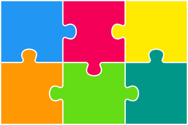 Rectangle background, banner with jigsaw puzzle color separate pieces, details, parts. Infographics. Puzzle background, banner, blank. Vector jigsaw section template. Background with puzzle 6 colored separate pieces, mosaic, details, tiles, parts. Rectangle outline abstract jigsaw. Game group detail. part of stock illustrations
