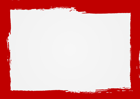 Rectangle background with a red frame. Painted by hand with a rough brush. Sketch, ink, grunge. Vector illustration.