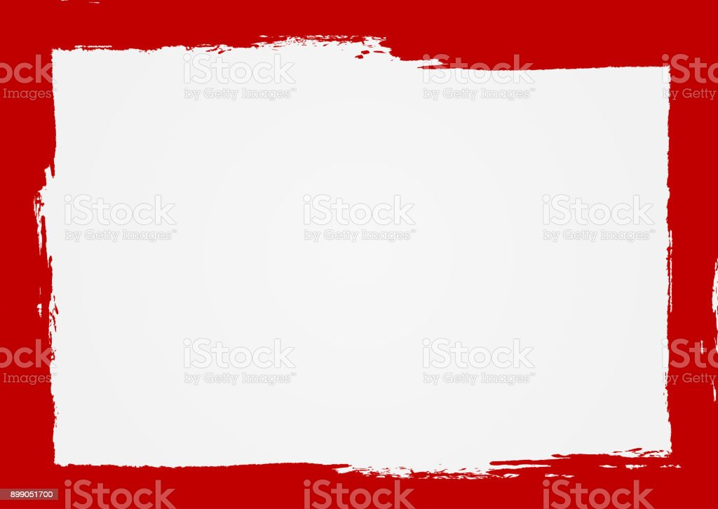 Rectangle background with a red frame. Painted by hand with a rough brush. Sketch, ink, grunge. vector art illustration