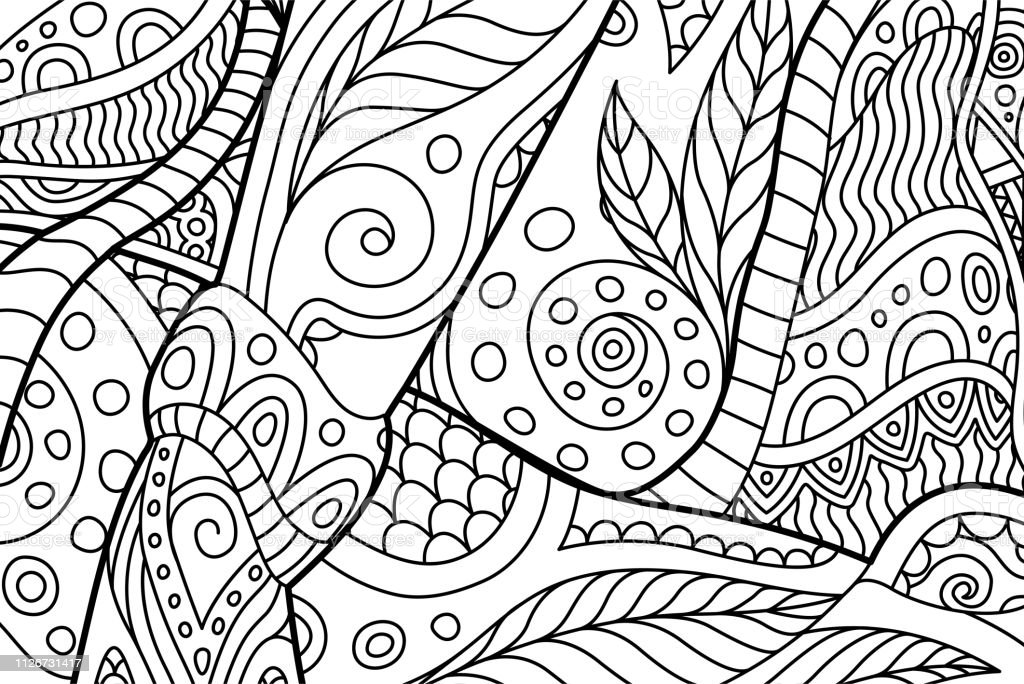 Rectangle Coloring Book Page With Abstract Pattern Stock