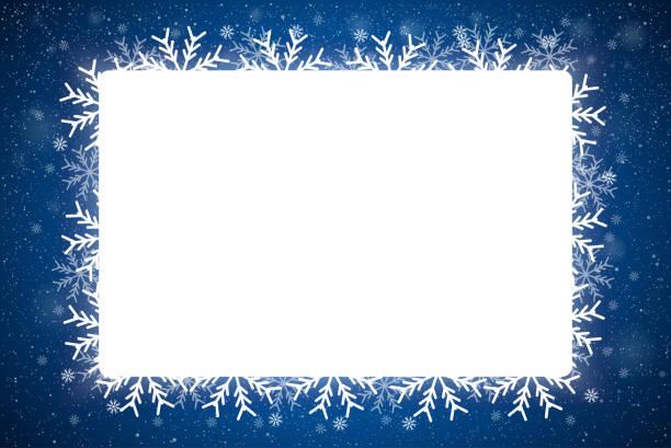 bildbanksillustrationer, clip art samt tecknat material och ikoner med rektangel ram stil med falla lysande snö och snöflingor. god jul, nyår. - christmas frame