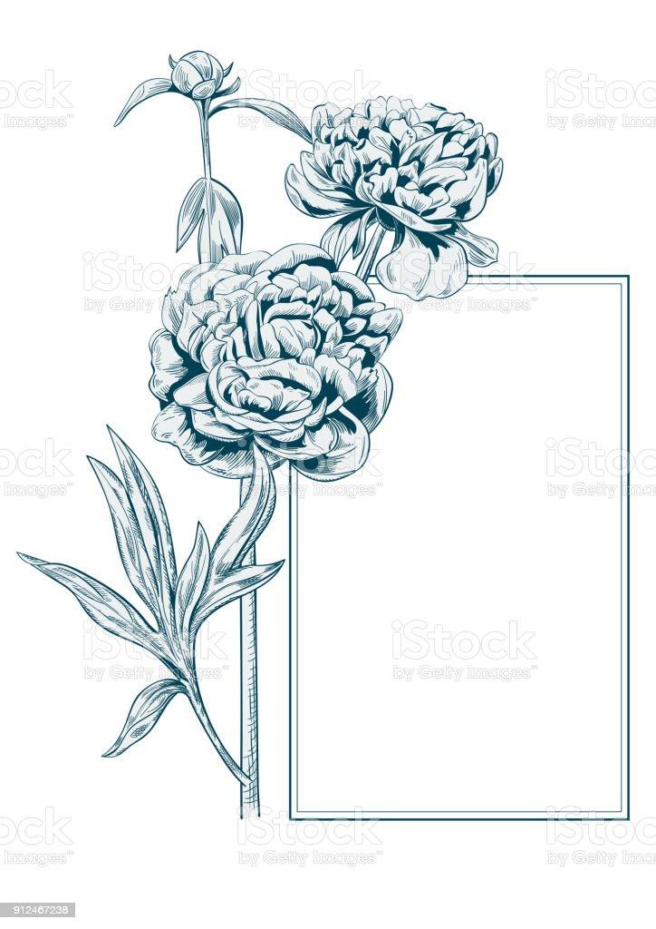 pfingstrose zeichnen blumen zeichnung, rechteck frame mit bouquet von pfingstrose monochromie blaue blumen, Design ideen