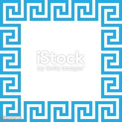 istock Rectangle frame with seamless meander pattern. Meandros, a decorative border, constructed from continuous lines, shaped into a repeated motif. Greek fret or Greek key. Illustration over white. Vector illustration 1313237362